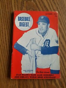 October 1945 Baseball Digest Hank Greenberg Detroit Tigers