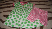 HANNA ANDERSSON 90 GREEN POLKA DOT DRESS PINK STRIPED SHIRTS SET