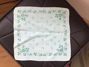 Vintage Pocket Square Hanky Handkerchief Floral Wedding Party Banquet Green Rose