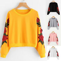 Women Long Sleeve Rose Embroidery Applique Sweatshirt O-Neck Pullover Top Blouse