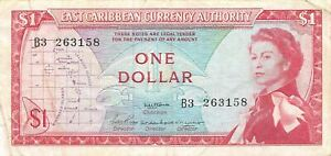 East Caribbean States  $1 ND.1965  P 13  Series B3 Circulated Banknote G13
