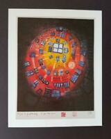 "Friedensreich Hundertwasser ""Window Out Of The Pond""  Mounted offset Litho 1986"