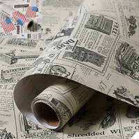 Vintage Newspaper Vinyl Self Adhesive Wallpaper Roll Bedroom Living Room 3M*60CM