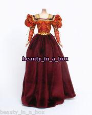 European Renaissance Burgundy Velvet Fashion for Barbie Doll