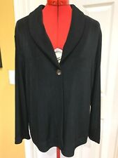 CHICO'S TRAVELERS Black Acetate Single Button Collared Jacket, Size 2, 12-14