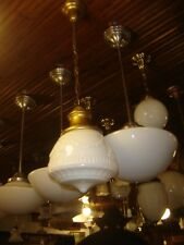 """Antique Brass Fixture Milk Glass Shade Embossed Swag Design. 6"""" fitter  7483"""
