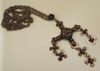 """Mexican JR MEXICO Amethyst & Sterling Silver Flower Cross Pendant 24"""" Necklace"""