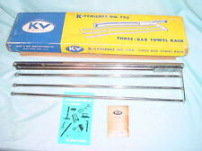 Kv Knape and Vogt Three Bar Polished Steel Sliding Towel Tie Rack Vintage New