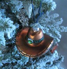 Brown SOMBRERO Mercury Glass Christmas Ornament   Festive Fun
