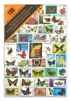 100 Different Butterflies & Moths Used Stamps Thematic Window Display Packet