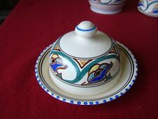 Vintage Hand Painted Honiton Pottery Jacobean Pattern Small Butter Dish With Lid