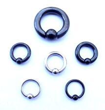 2mm - 6mm CBR Spring Captive Bead Ring Genital Prince Albert Heavy Gauge Black