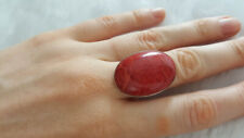 Sterling Silver 925 Natural Red Coral Ring Oval Shape Extra Large Size 6.5