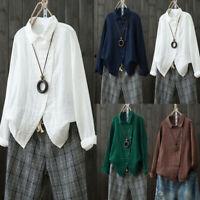 Women Cotton Linen Long Sleeve Casual Loose Button Top Blouse Shirt Plus Size AU