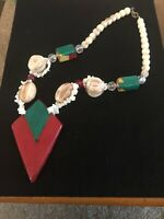Vintage Necklace Art Deco Mother Of Pearl Lucite Beads Necklace