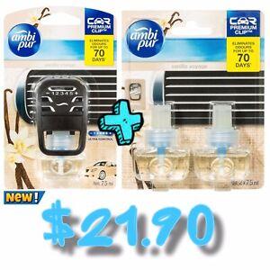 Ambi Pur Premium Clip Car Air Freshener Vanilla Voyage, 7.5mL+Refill-2x7.5 mL
