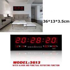 Digital Grande LED Horloge Murale Température Humidité Calendrier Rouge Seconde