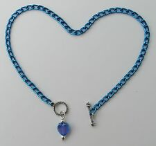 or custom anklet with heart pendant Deep Blue aluminum chain Nickel Free 10""