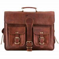 New Leather Genuine Vintage Messenger Man Business Laptop Briefcase Satchel Bag