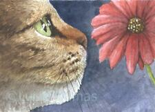 ACEO art print Cat 626 flower from original watercolor art painting by L.Dumas