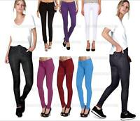 New Womens Jeggings Ladies Fit Skinny Coloured Stretchy Trousers Jeans Size 8/26
