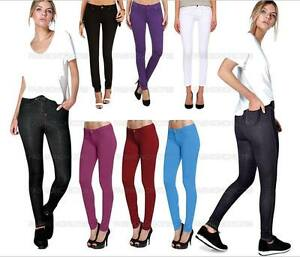 Skinny Women' Jeans Stretchy Jeggings Ladies New Fit Coloured Trousers Size 8-26