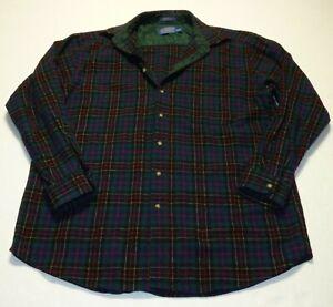 Men's Pendleton Virgin Wool Plaid Flannel Long Sleeve Work Shirt Sz XL Long Tall