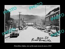 OLD LARGE HISTORIC PHOTO OF PRIEST RIVER IDAHO THE MAIN STREET & STORES c1945