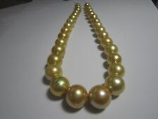 best  luster 17 '' 15-12 mm south sea golden pearl necklace 14k gold clasp