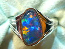 Mens Opal Ring 14ct White Gold Natural F Form Opal Triplet 16 x 9mm item 110575