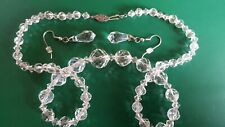 Vintage 19 Inch Crystal Necklace And crystal hook Dangle Earrings Set