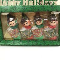 Vtg Paper Felt Pixie Angel Elf Christmas Ornaments Japan in original package