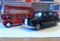 LONDON RED BUS & BLACK TAXI SET, PULL BACK & GO ACTION TOY SOUVENIR GIFT