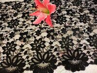 noir,tissu dentelle de calais fleurs ,0,98x043 neuf