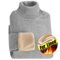 Mens Knitwear Fur Lined warm Turtleneck Thicken Knitted jumper Pullover Sweater@