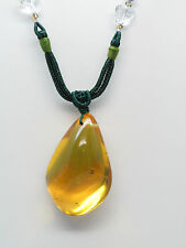 Necklace Dominican Amber Stone Polished Natural Gem Green Authentic jewelry D112