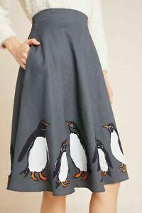 Anthropologie Corey Lynn Calter Wonderland Penguin Skirt Lined Size S NWT $160