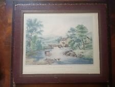 """Vintage Currier & Ives Print-The Mill Stream Framed Faux Leather-11""""x9"""" Apprx B4"""
