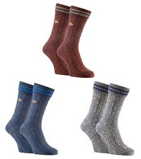 Farah - 2 Pack Mens Thick Cotton Turn over Cuff Cable Knitted Dress Boot Socks