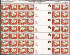 1990 US Christmas Seal Full Sheet 42 Stamps Season's Greetings White Doves Mint