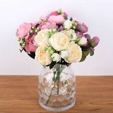 Artificial Flowers 30cm Peony Rose Pink Silk Bouquet Decoration Home Birthday Pa