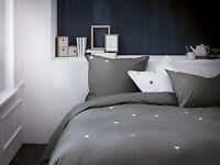 Bettwäsche Matt & Rose grau Sterne 135 x 200 cm, 80 x 80 cm