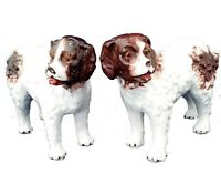 Pair Staffordshire Pottery Dog Figurines St Bernard Standing Dogs Antique c 1890