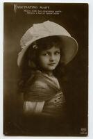 c 1912 Children Child Young Little GIRL w/ BIG HAT photo postcard