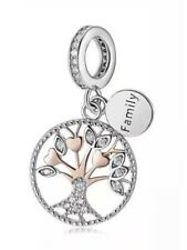 Genuine 925 Sterling Silver Family Tree Of Life Love Rose Gold Cz Pendant Charm