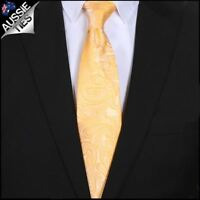 Yellow Paisley Mens Tie Men's Necktie Light Gold