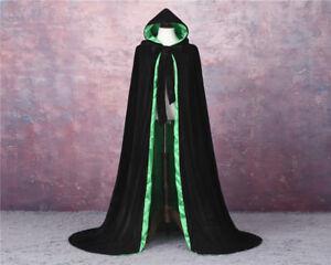 VELVET + LINED GOTHIC CLOAK HALLOWEEN BLACK CAPE HOODED WICCA MEDIEVAL LARP SCA