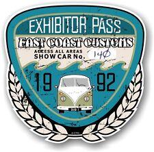 Retro Effetto Invecchiato Custom CAR SHOW ESPOSITORE PASS 1992 VINTAGE vinyl sticker decal