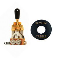 3 WAY Toggle Switch/Black knob Golden Electric Guitar Part