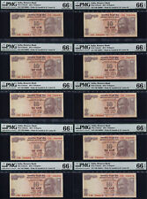 TT 2014 INDIA 10 RUPEE SACRED S/N 786 SAME BLOCKSET 1 THRU 10 IN A ROW PMG 66 PQ